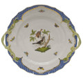 Herend Rothschild Bird Borders Blue Chop Plate with Handles 12 in RO-EB-01173-0-00