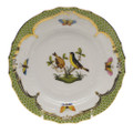 Herend Rothschild Bird Borders Green Bread and Butter Plate No.7 6 in RO-EV-01515-0-07