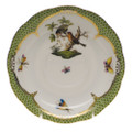 Herend Rothschild Bird Borders Green Tea Saucer No.10 6 in RO-EV-00734-1-10