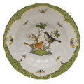 Herend Rothschild Bird Borders Green Rim Soup No.5 9.5 in RO-EV-01503-0-05
