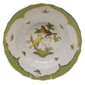 Herend Rothschild Bird Borders Green Rim Soup No.6 9.5 in RO-EV-01503-0-06
