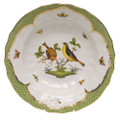 Herend Rothschild Bird Borders Green Rim Soup No.7 9.5 in RO-EV-01503-0-07