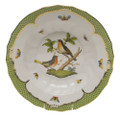 Herend Rothschild Bird Borders Green Rim Soup No.8 9.5 in RO-EV-01503-0-08