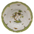 Herend Rothschild Bird Borders Green Rim Soup No.11 9.5 in RO-EV-01503-0-11