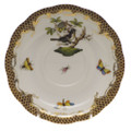 Herend Rothschild Bird Borders Brown Tea Saucer No.1 6 in ROETM200734-1-01