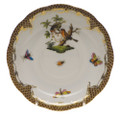 Herend Rothschild Bird Borders Brown Tea Saucer No.10 6 in ROETM200734-1-10