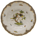 Herend Rothschild Bird Borders Brown Rim Soup No.11 9.5 in ROETM201503-0-11