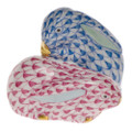 Herend Pair of Rabbits Fishnet Blue and Raspberry 1.5 in VHB-P-05324-0-00