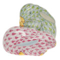 Herend Pair of Rabbits Fishnet Key Lime and Raspberry 1.5 in VHV1-P05324-0-00