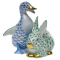 Herend Duckling and Bunny Fishnet Blue and Green 2.75 x 3 in SVHB-V15611-0-00