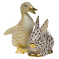 Herend Duckling and Bunny Fishnet Butterscotch and Brown 2.75 x 3 in SVHQ3115611-0-00