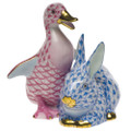 Herend Duckling and Bunny Fishnet Raspberry and Blue 2.75 x 3 in SVHP-B15611-0-00
