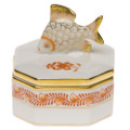 Herend Petite Octagonal Box with Fish Chinese Bouquet Rust 2 in AOG---06105-0-28
