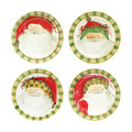 Vietri Old St. Nick Round Salad Plate Assorted, Set of Four 8.5 in OSN-7802