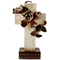 Jan Barboglio Primavera Stone Cross with Roses 12.5x9.5x22 in 7243