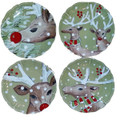 Casafina Deer Friends Salad Plate Set of Four 8.5 in DF604-GRN