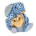 Herend Bunny with Heart Fishnet Blue 1.5x5 in SVHB--05575-0-00