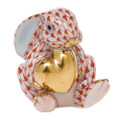 Herend Bunny with Heart Fishnet Rust 1.5x5 in SVH---05575-0-00