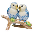 Herend Love Birds on Branch Fishnet Blue 4 in high SVHB--15728-0-00