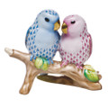 Herend Love Birds on Branch Fishnet Pink and Blue 4 in high SVHQ4715728-0-00