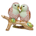 Herend Love Birds on Branch Fishnet Rust 4 in high SVH---15728-0-00