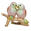 Herend Love Birds on Branch Fishnet Rust 4 in high SVH---15728-0-00