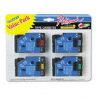 Brother TC50 1/2 In. P-touch Tape, 4/Pack, Black On Red, Black On Blue, Black On Yellow, Black On Green, TC-50