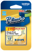 Brother M231-2PK 1/2 In. Black on White Twin Pack