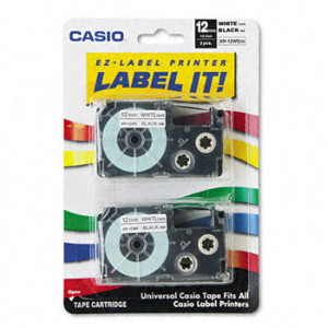 Casio XR12WE2S Black on White Tape Cassettes