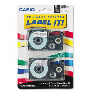 Casio XR9WE2S Black on White Tape Cassettes