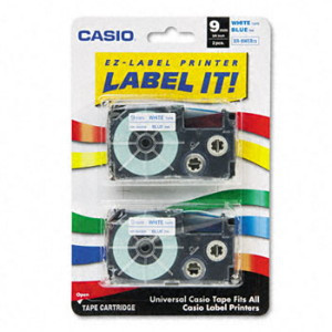 Casio XR9WEB2S Blue on White Tape Cassettes
