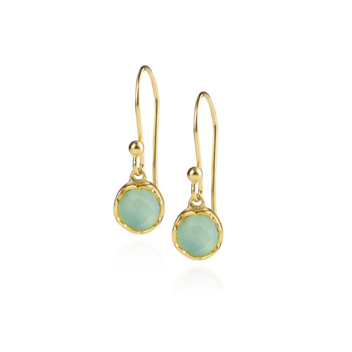 Dosha Earrings - Gold - Aqua Chalcedony