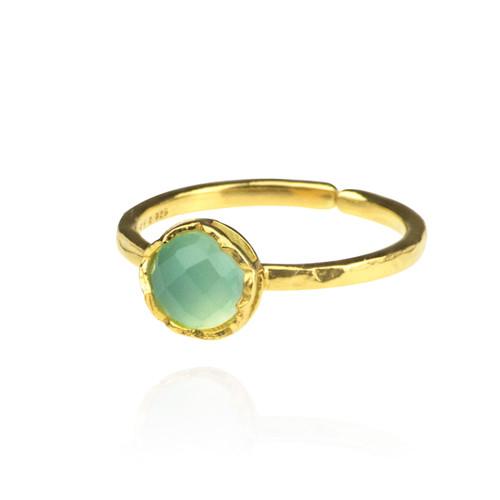 Dosha Ring - Gold - Aqua Chalcedony