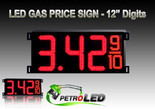 "Gas Price LED Sign (Digital)  12"" Red with 3 Large Digits & fraction digits - 5 Year Warranty"