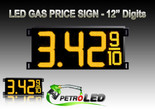 "Gas Price LED Sign (Digital)  12"" Amber (Yellow) with 3 Large Digits & fraction digits - 5 Year Warranty"