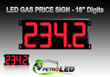 "Gas Price LED Sign (Digital)  16"" Red with 4 Large Digits - 5 Year Warranty"
