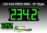 "Gas Price LED Sign (Digital)  16"" Green with 4 Large Digits - 5 Year Warranty"