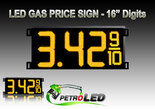 "Gas Price LED Sign (Digital)  16"" Amber (Yellow) with 3 Large Digits & fraction digits - 5 Year Warranty"