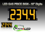 "Gas Price LED Sign (Digital)  16"" Amber (Yellow) with 4 Large Digits - 5 Year Warranty"