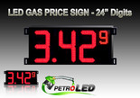 "Gas Price LED Sign (Digital)  24"" Red with 3 Large Digits & 1 small digit - 5 Year Warranty"