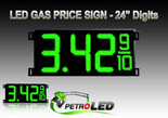 "Gas Price LED Sign (Digital)  24"" Green with 3 Large Digits & fraction digits - 5 Year Warranty"
