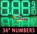 "Gas Price LED Sign (Digital)  36"" Green with 3 Large Digits & fraction digits - 5 Year Warranty"