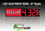 "8"" REGULAR Gas Price LED Sign - Red LEDs with 3 Large Digits & fraction digits - Lighted Section to the left - 5 Year Warranty"