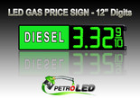 "12"" DIESEL Gas Price LED Sign - Green LEDs with 3 Large Digits & fraction digits - Lighted Section to the left - 5 Year Warranty"