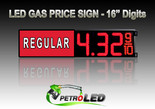 "16"" REGULAR Gas Price LED Sign - Red LEDs with 3 Large Digits & fraction digits - Lighted Section to the left - 5 Year Warranty"