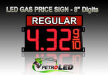 "8"" REGULAR Gas Price LED Sign - Red LEDs with 3 Large Digits & fraction digits - Top Section lighted - 5 Year Warranty"