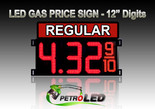 "12"" REGULAR Gas Price LED Sign - Red LEDs with 3 Large Digits & fraction digits - Top Section lighted - 5 Year Warranty"