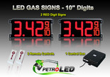 "10 Inch Digits - LED Gas sign package - 2 Red Digital Price Gasoline LED SIGNS - Complete Package w/ RF Remote Control - 28""x13"""