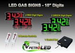 "10 Inch Digits - LED Gas sign package - 2 Red & 2 Green Digital Price Gasoline LED SIGNS - Complete Package w/ RF Remote Control - 28""x13"""
