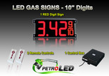 "10 Inch Digits - LED Gas sign package - 1 Red Digital Price Gasoline LED SIGNS - Complete Package w/ RF Remote Control - 28""x13"""